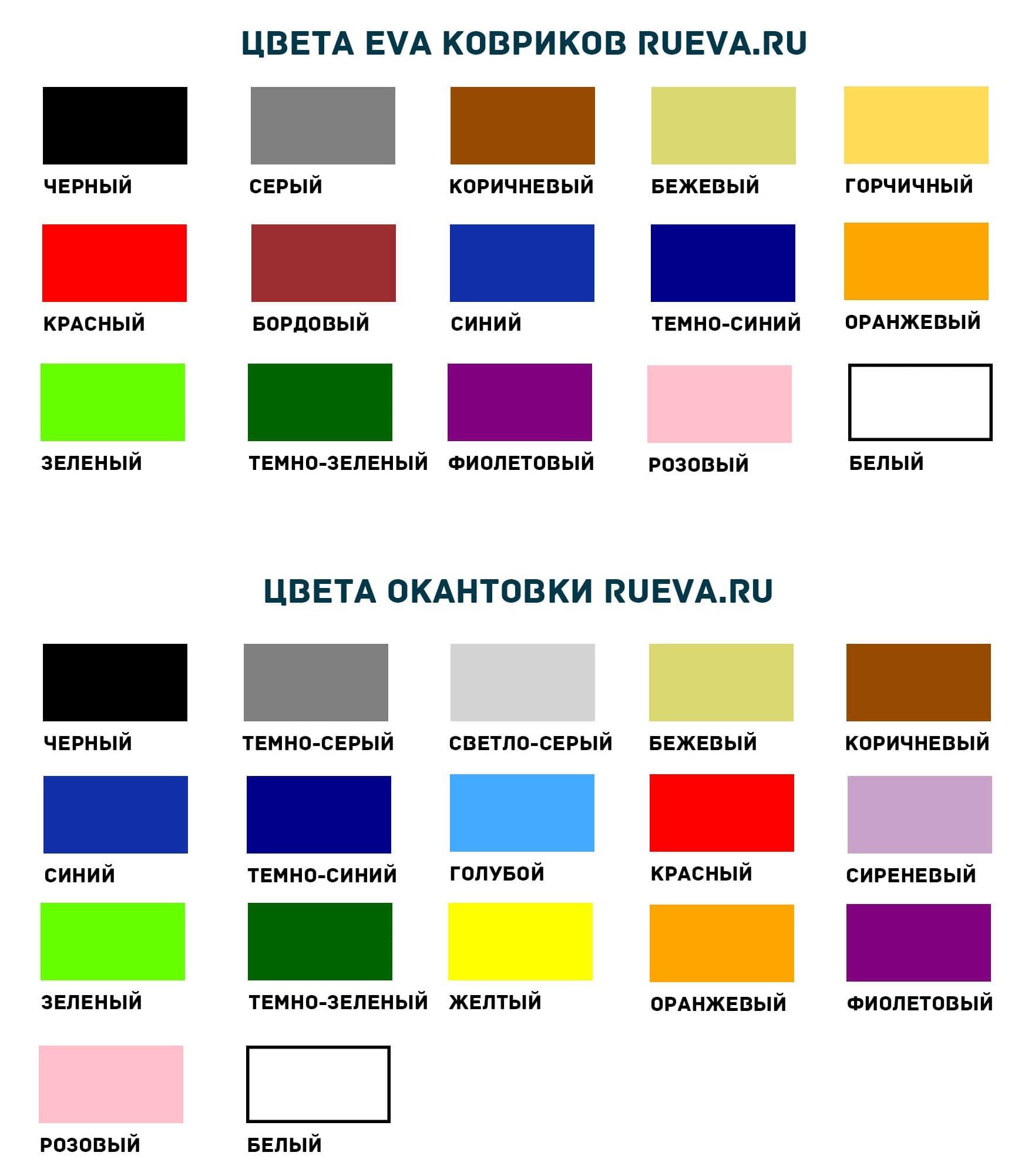 Цвета EVA ковриков и окантовки
